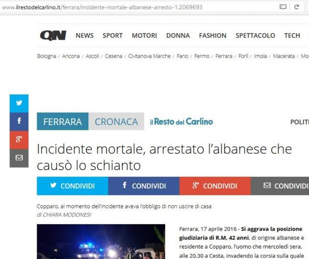 Incidente mortale, arrestato l'albanese che causò lo schianto